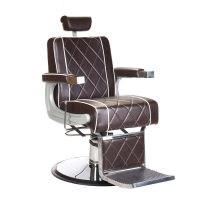 Barbers křeslo ODYS BH-31825M LUX hnědé s bílým prošíváním