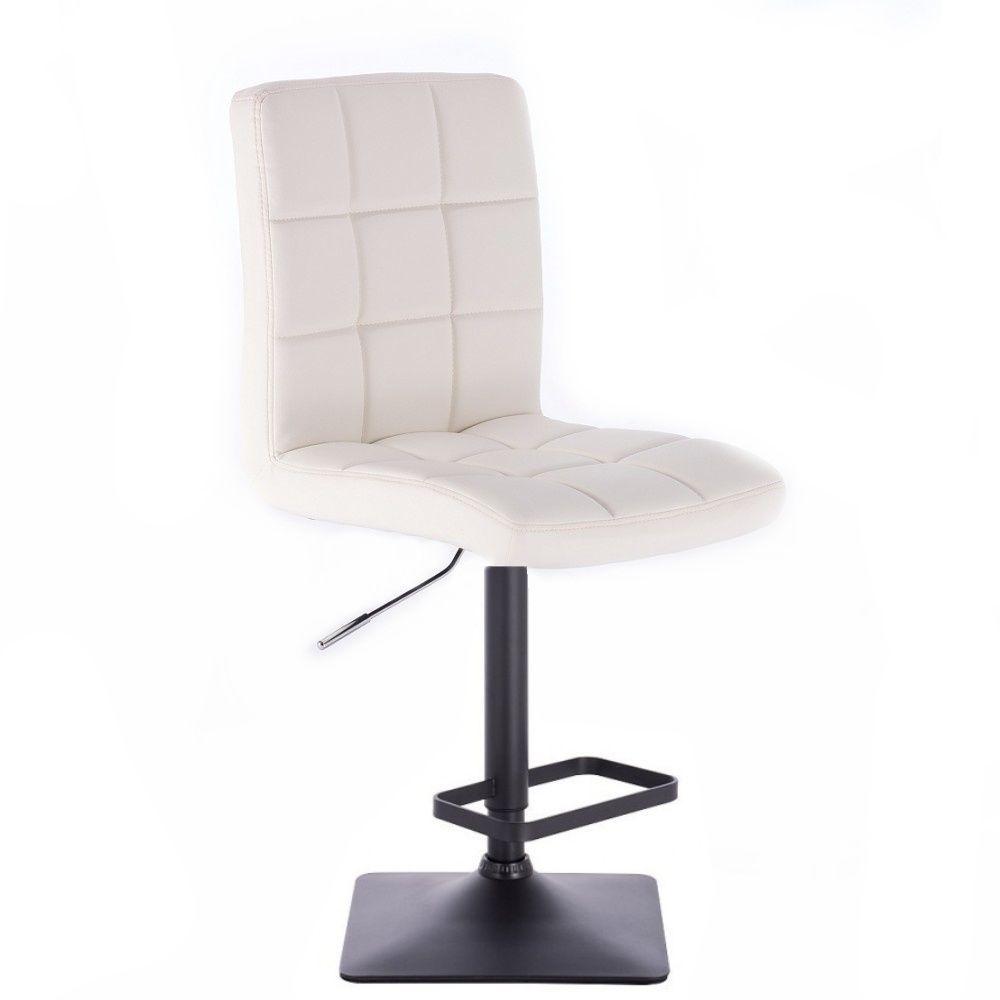 Barová židle TOLEDO na černé podstavě - bílá