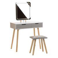 Toaletní stolek bílý ANJA W3 - obdélníkové zrcadlo - 2 zásuvky + taburet