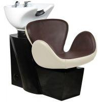 Kadeřnický mycí box AMSTERDAM hnědo-béžový
