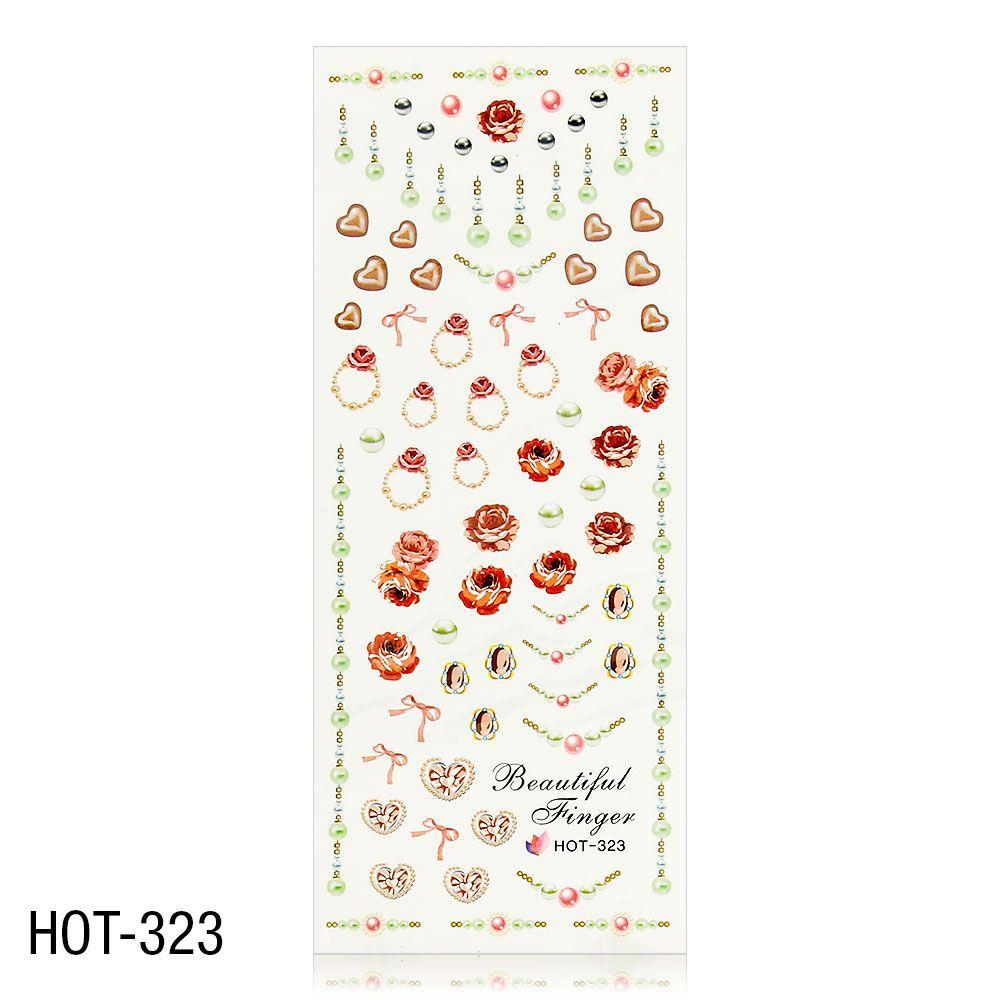Vodolepky na zdobení nehtů - velký list 12,7 x 5,5cm HOT-323