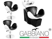 Kadeřnický set 2+1 GABBIANO AMSTERDAM bílo-černý (AS)