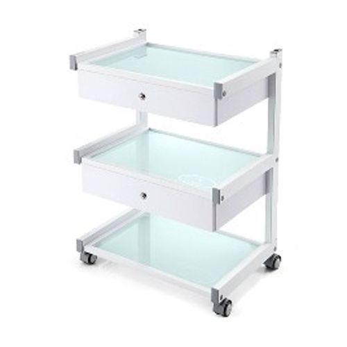 Pojízdný stolek se 3 policemi a 2 zásuvkami