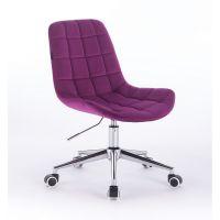 Židle na kolečkách HR590K velurová fuchsiová