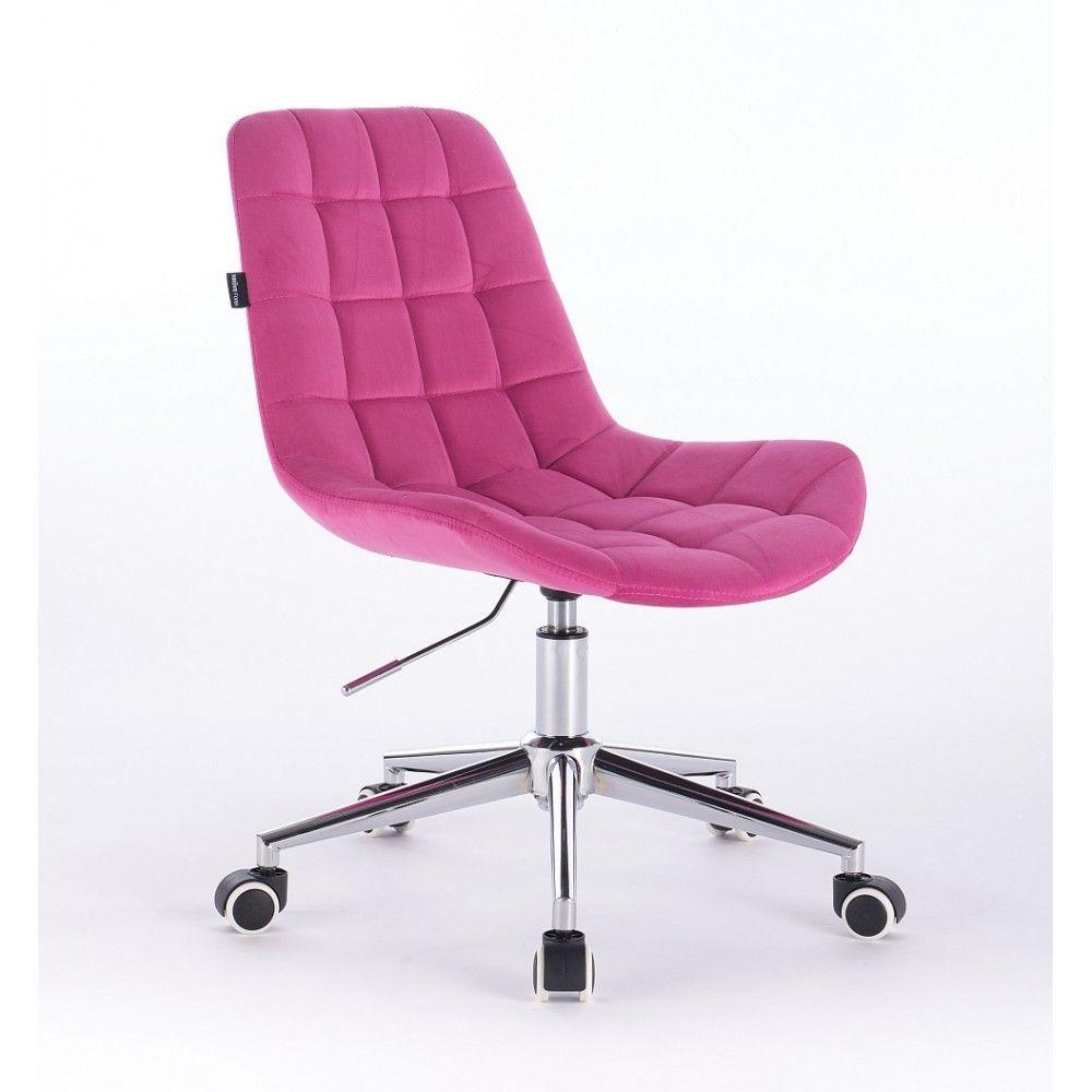 Židle na kolečkách HR590K velurová malinová