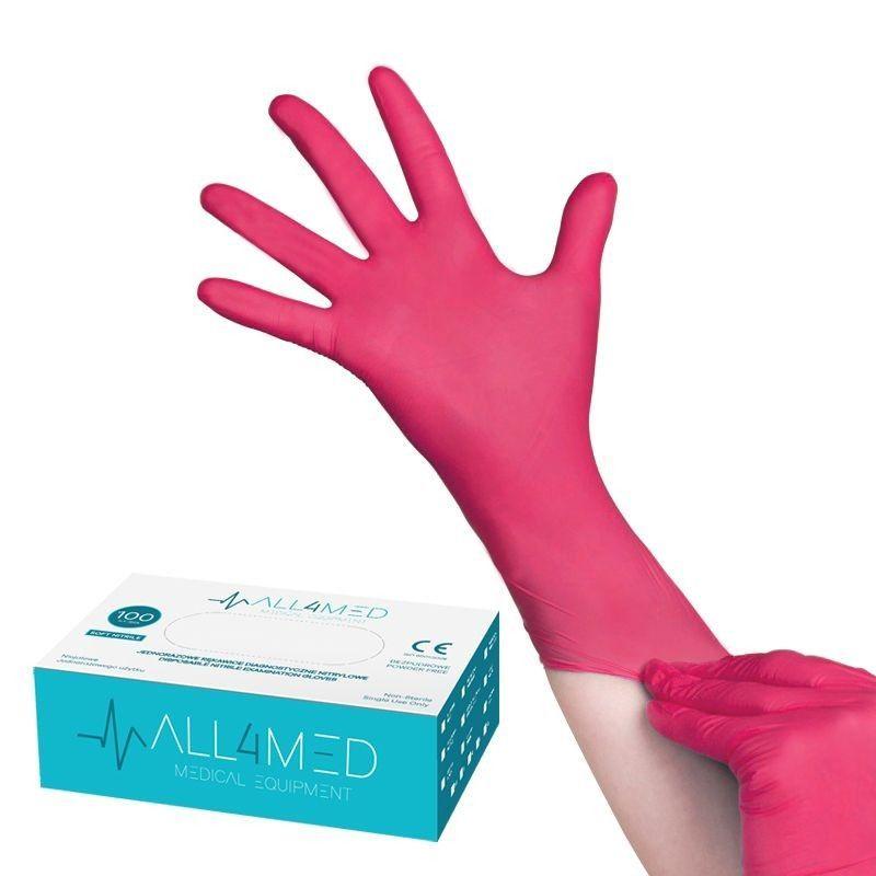 Jednorázové nitrilové rukavice malinové