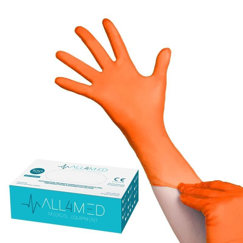 Jednorázové nitrilové rukavice oranžové