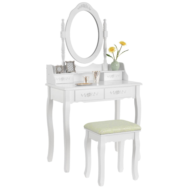 Toaletní stolek MIRA se zrcadlem, 4 zásuvky + taburet - bílá