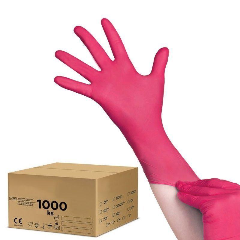 Jednorázové nitrilové rukavice malinové - velikost L - karton 10ks