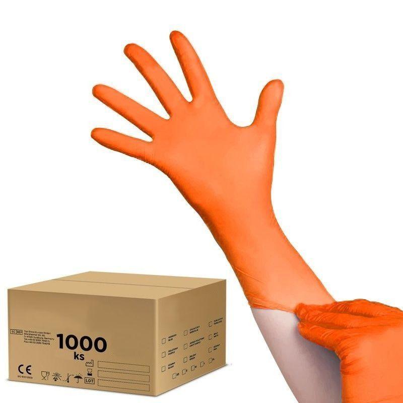 Jednorázové nitrilové rukavice oranžové - velikost M - karton 10ks