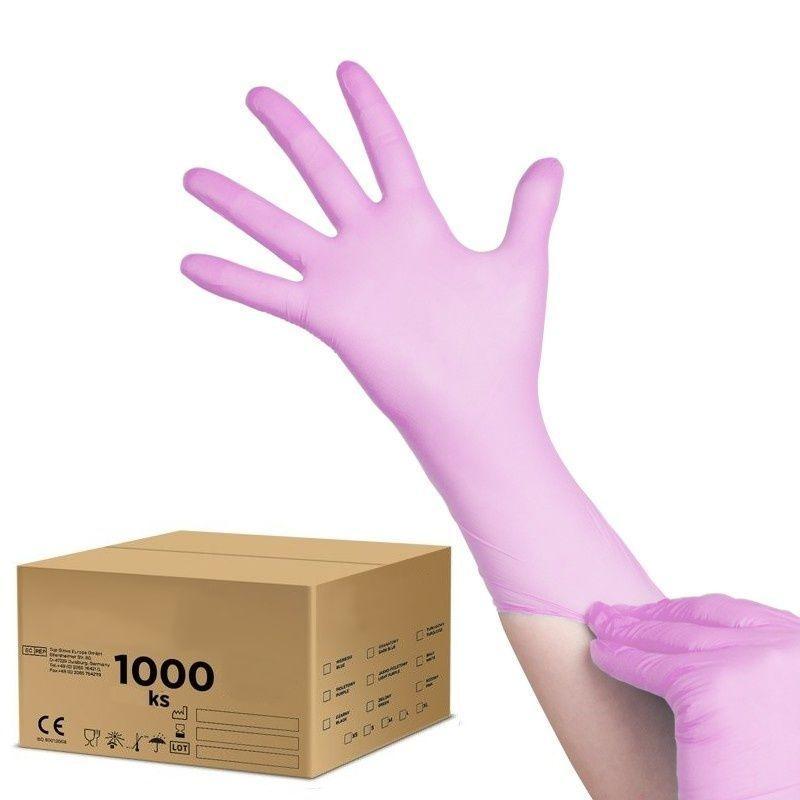 Jednorázové nitrilové rukavice růžové - velikost M - karton 10ks