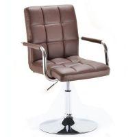 Kosmetická židle VERONA na kulaté podstavě hnědá